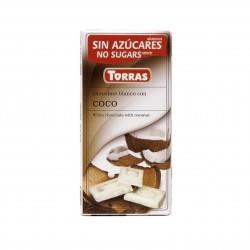 Bílá čokoláda s kokosem 75g Torras