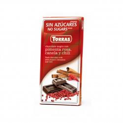 Hořká čokoláda se skořící, chilli a růžovým pepřem 75g Torras