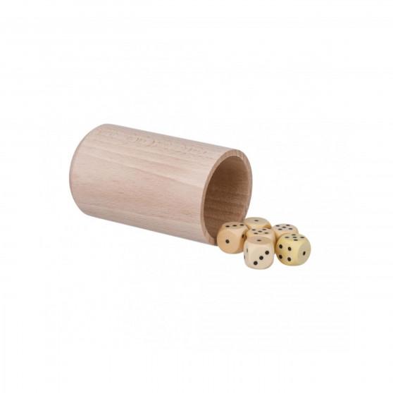 Hrací kostky s kelímkem Čisté dřevo