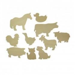 Dřevěné obkreslovací obrázky domácích zvířat Čisté dřevo.