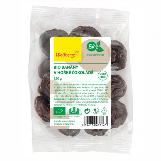 Banány v horkej čokoláde BIO 150 g Wolfberry